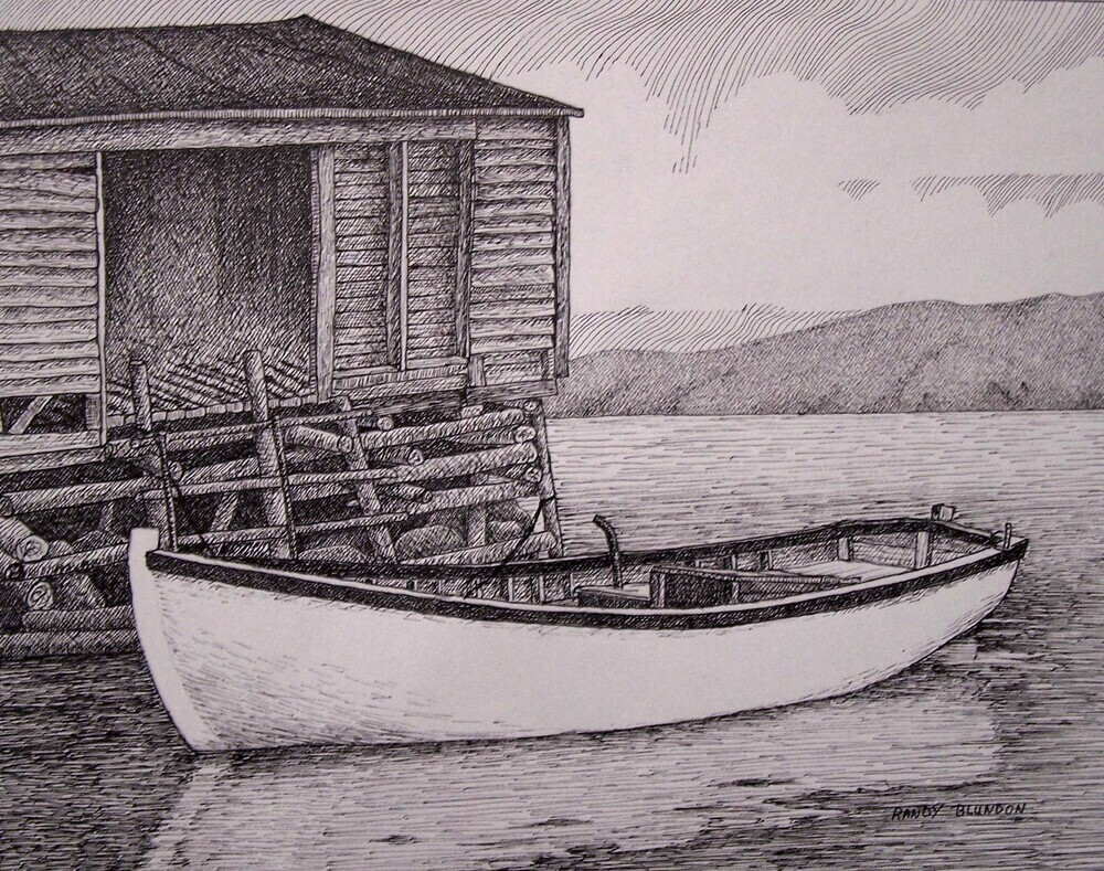 The Art Of Randy Blundon Pen Amp Ink Skiff Amp Fishing Stage
